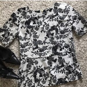 Talbots grey floral knit peplum top